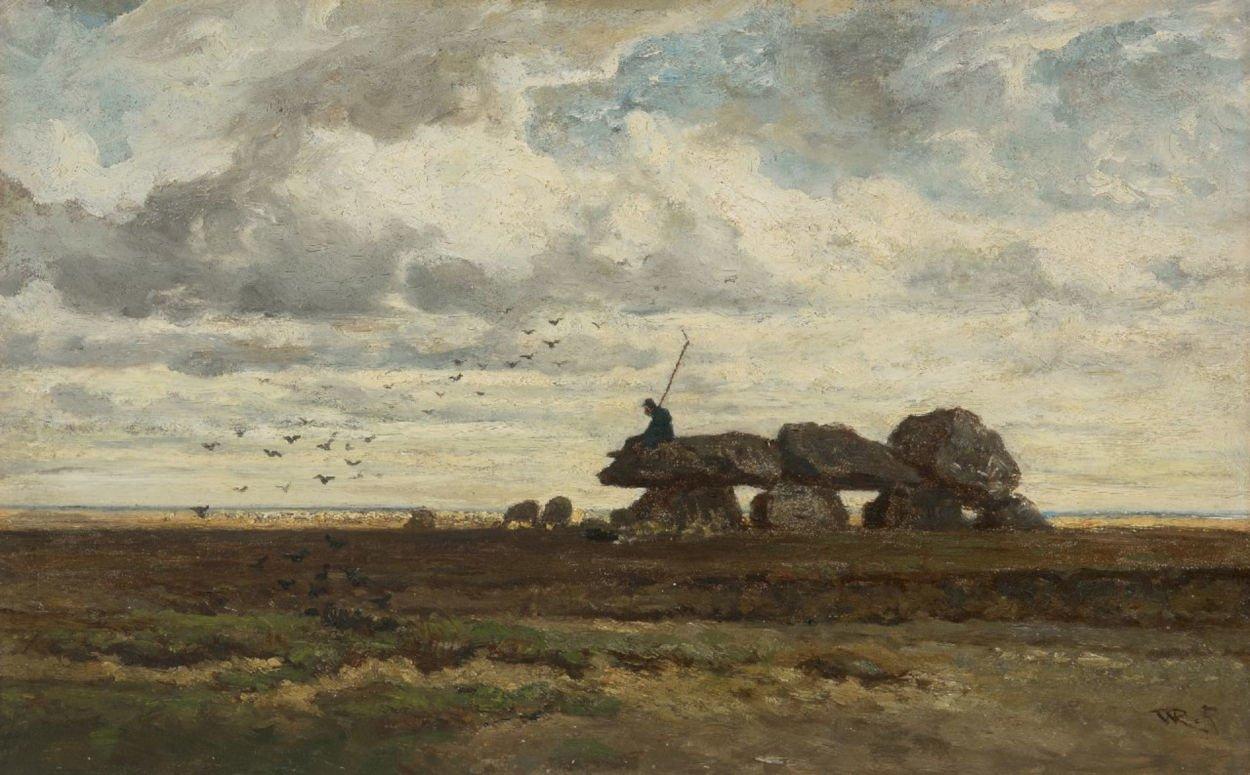 Dolmen D6 painting by Willem Roelofs, called het hunebed bij Tynaarlo